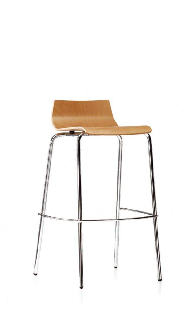 Pledge Bjorn High Bistro Chair With Wooden Finish And 4 Chrome Legs